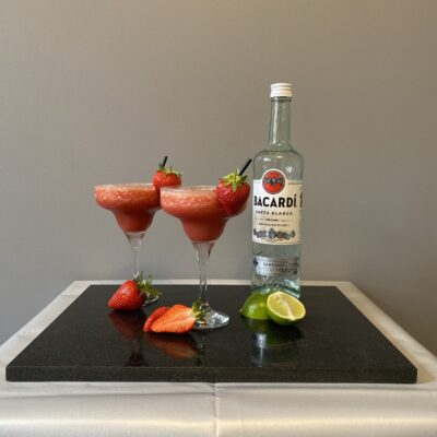 Strawberry Daiquiri - Popular Cocktail - Bacardi - Strawberries - Lime Slices